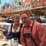 patti and tim drinking beer at oktoberfest