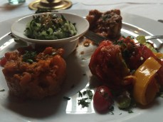 Four delicious Moroccan salads - one cucumber, one carrot, one red pepper and one beet