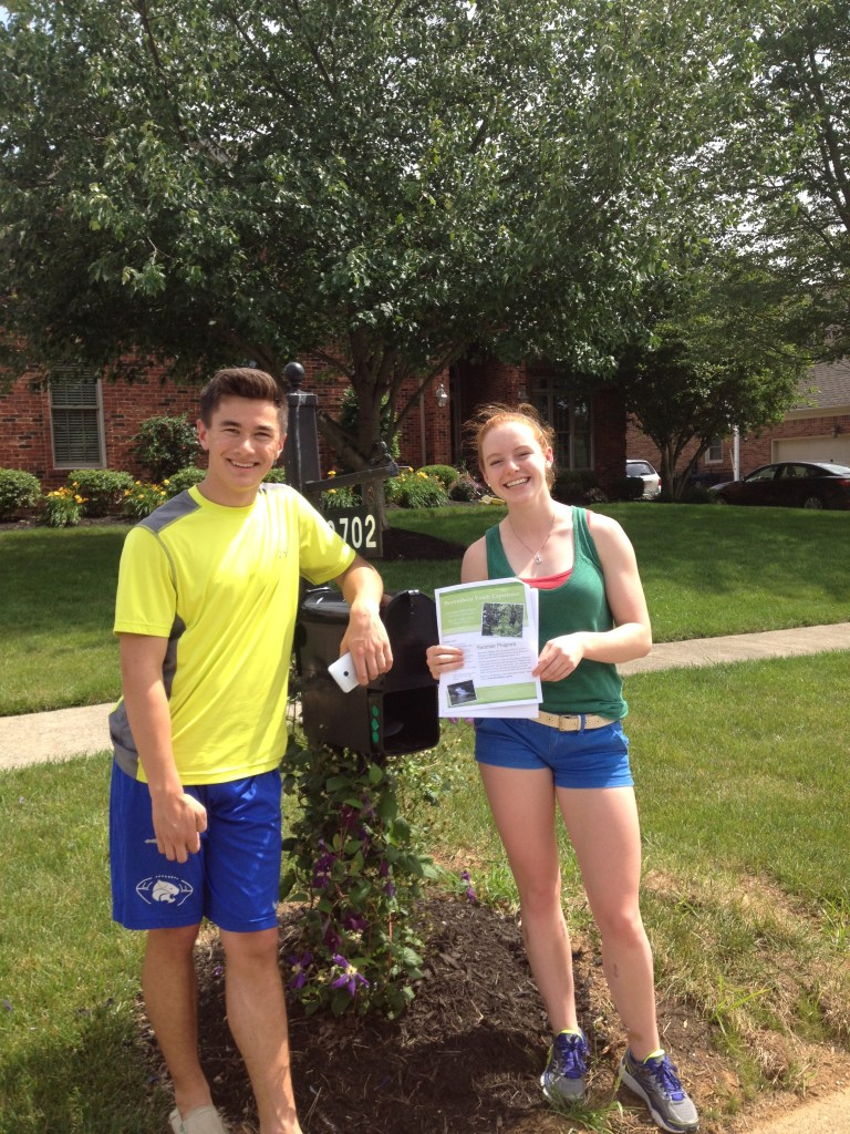 Stephen and Brigitta pass out fliers around Oldham County and Louisville.