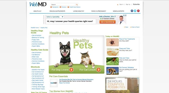 Screen shot of WebMD homepage