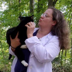 Kelli Barton, DVM, with her cat Copernicus