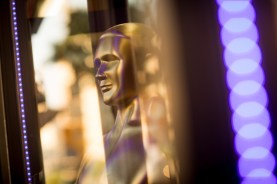 Oscar statue in a gift shop window, Hollywood Boulevard, Hollywood, California, United States of America