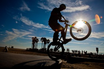 Bicycle stunts, Venice Beach, Los Angeles County, California, United States of America