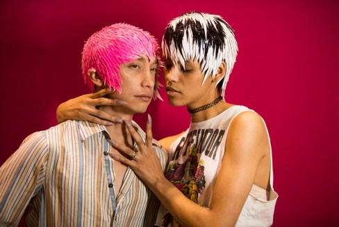 Mita and Michael wear styles from Chernobyl at RuPaul's DragCon 2017, Los Angeles Convention Center, downtown LA, California, USA