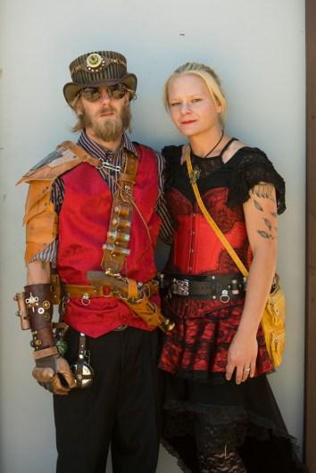 Steampunk fashion on cosplay weekend at 2017 Renaissance Pleasure Faire, Santa Fe Dam Recreation Area, Irwindale, California, USA