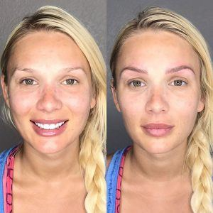 Microblading before and after frontal picture