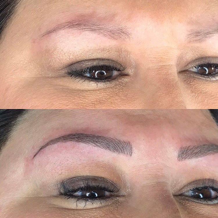 Microblading before and after single brow