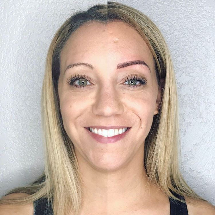 Microblading before and after split screen