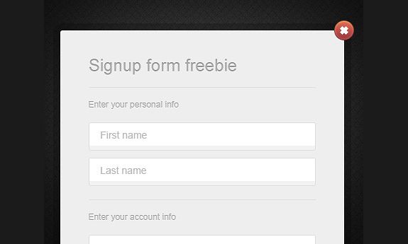 Simple Modal Sign Up Form