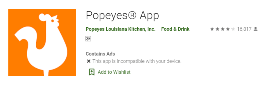 Popeyes App for Mac