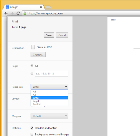 chrome print settings