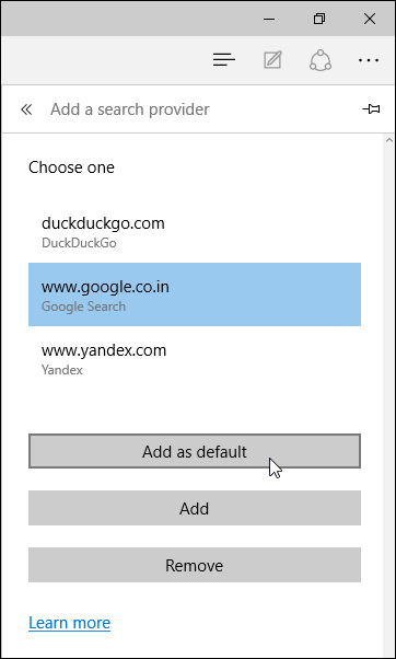google default search engine microsoft edge