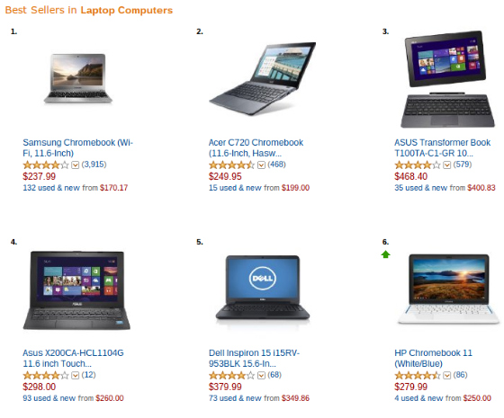 top selling laptops on amazon