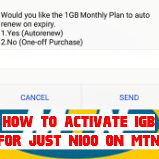 How To Activate MTN 1GB For N100