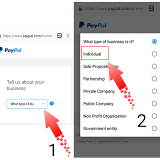 Type of business to select while creating a PayPal account in Nigeria
