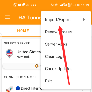 Import file to ha tunnel