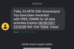 MTN at 20 Free 200MB