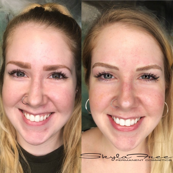 Before and after microblading and shaping by Bliss Beauty & Brow Boutique