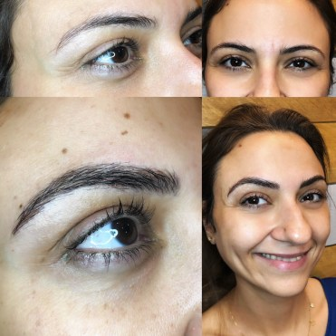 Before and after microblading by Bliss Beauty & Brow Boutique in Kansas City Missouri