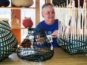 Billie Ruth Sudduth weaves baskets in her studio