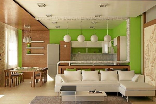 зал кухня студия фото дизайн интерьера - Дизайн Ресурс