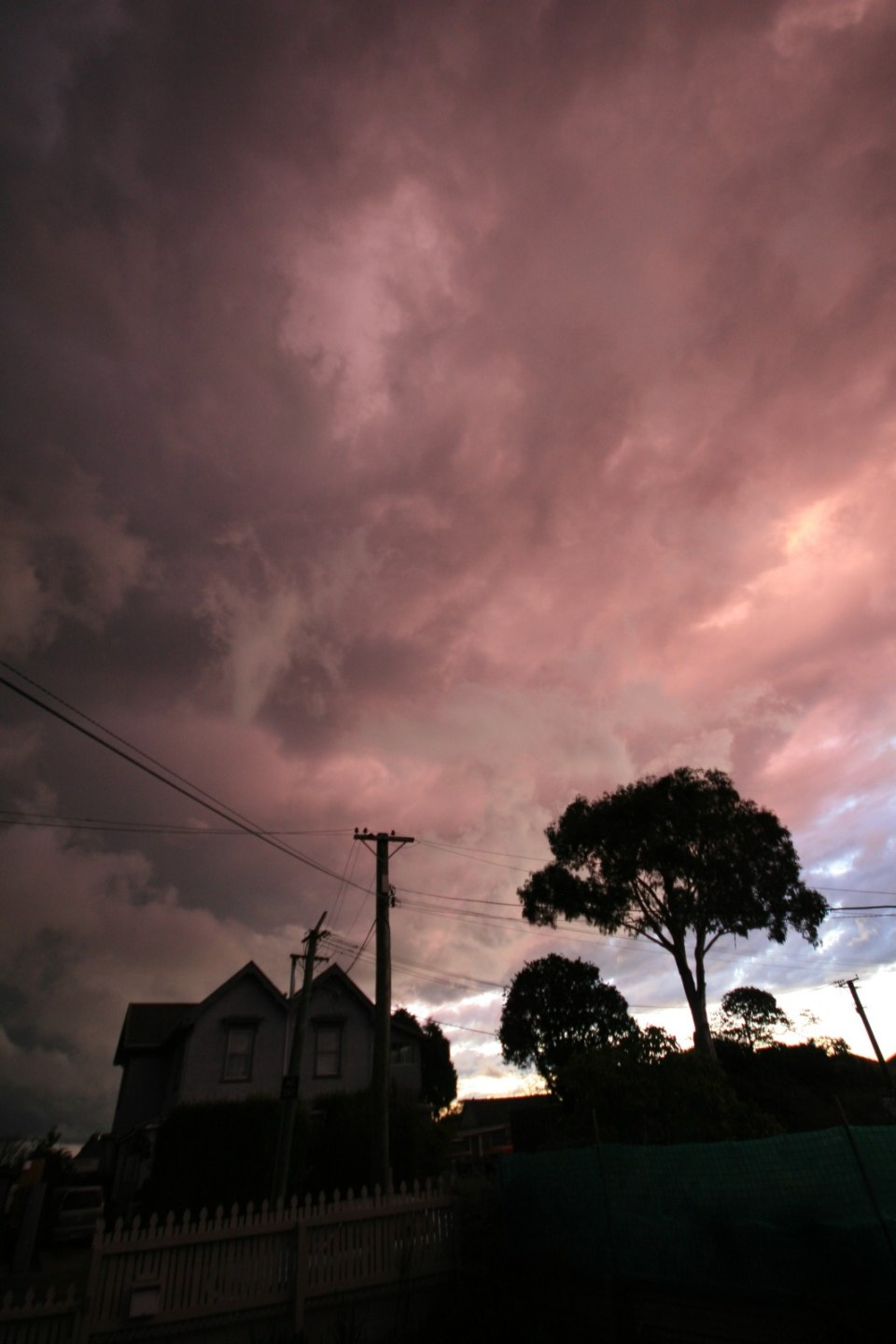 pink and blue sky as the sun was setting just prior to a lightning storm