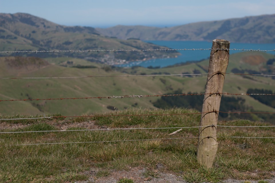 an old rusty fence in focus with a beautiful shot of akaroa in the distance out of focus