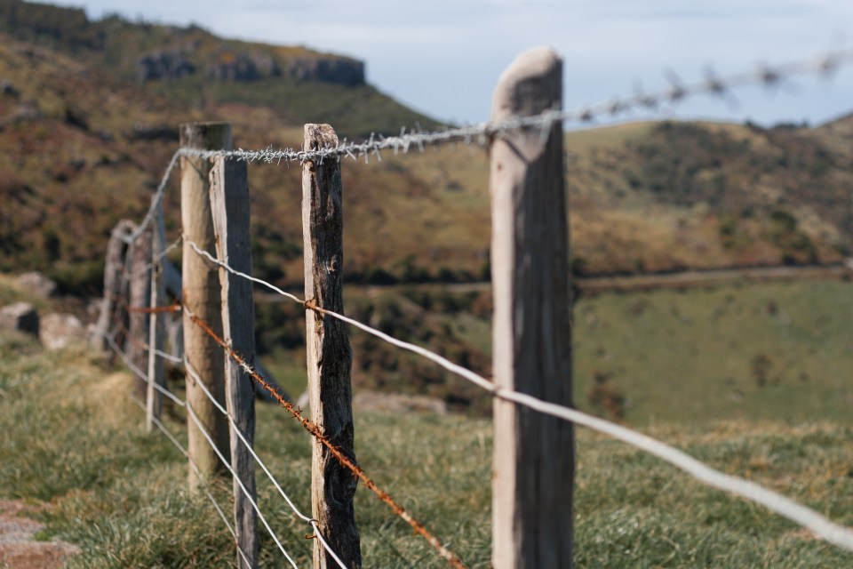 rusted barbed wire on a rural fence post