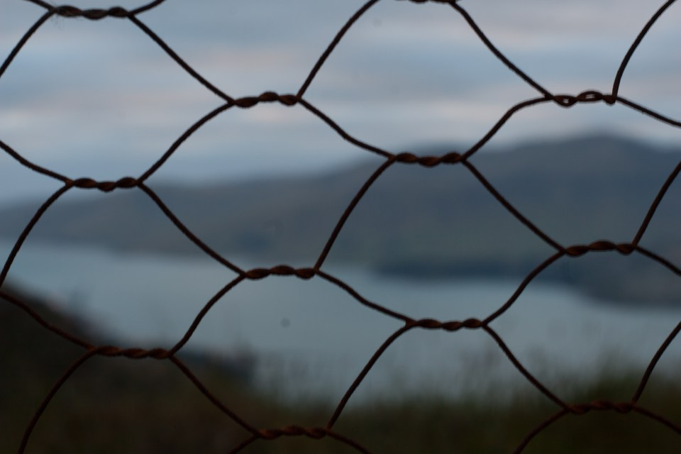 view of diamond harbor through a wire fence