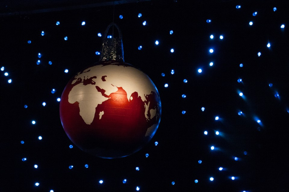 red bauble with globe blue lights, spreydon baptist church