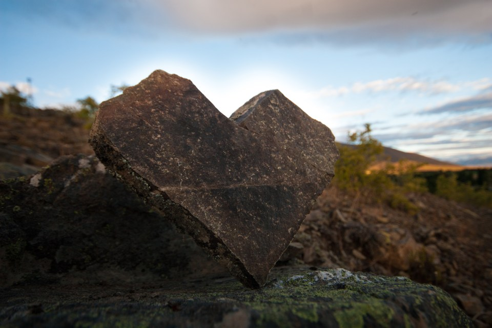 heart shaped rock in the dawn light