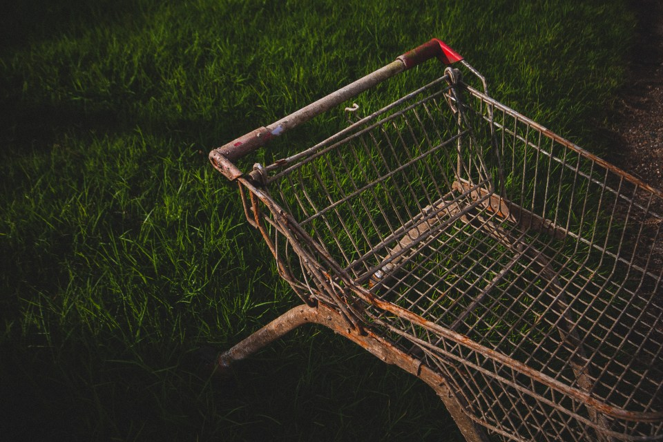 rusted shopping trolley