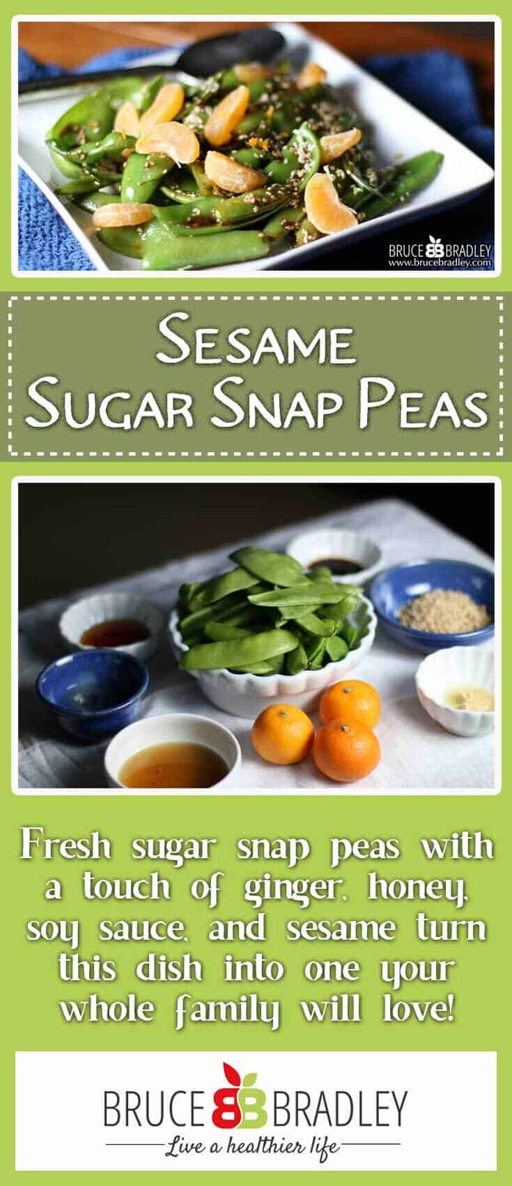 Bruce Bradley's Sesame Sugar Snap Pea recipe features fresh sugar snap peas with a touch of ginger, honey, soy sauce, and sesame that turn this dish into one your whole family will love!