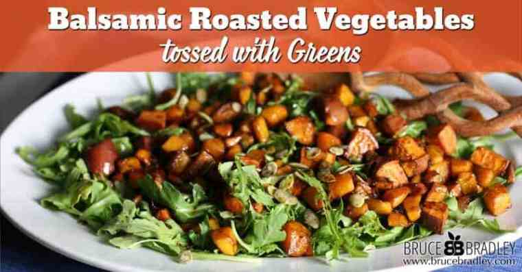 A delicious, healthy dish filled with balsamic roasted butternut squash, sweet potatoes, and greens. Perfect for a weeknight meal or as a holiday side dish!
