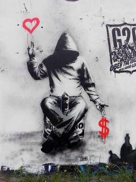 graffiti heart money