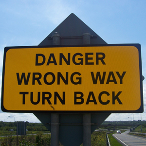 danger wrong way