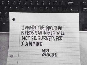 girl saving fire