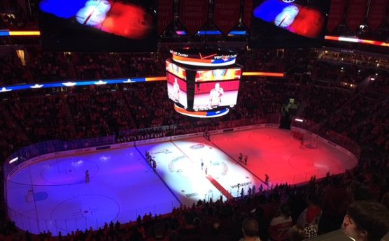 Washington Capitals ice hockey rink during the playing of the US national anthem last evening
