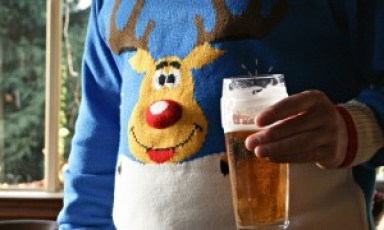 Man in a reindeer Christmas jumper