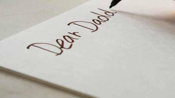 dear daddy hand write note