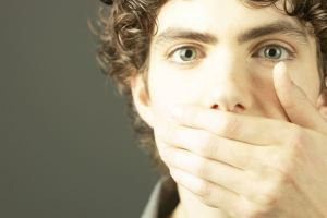 oh my god cover mouth silence do not speak