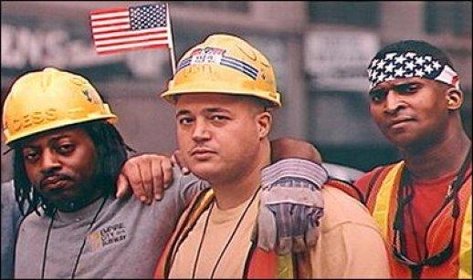 American Workers sweat hard hats
