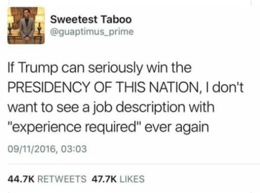 trump experience required job interview