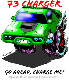 73 charger caricature by bruce Outridge productions