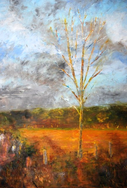 Sentinel - Susan Watson, Oil and cold wax on gallery panel