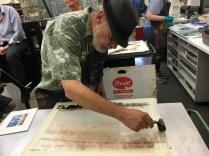 Bruce Waldman giving a monotype demo at the Robert Blackburn Printmaking Workshop, Feb. 2017