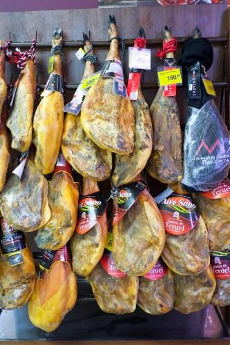 Ham haunches at the Mercado Central in Valencia