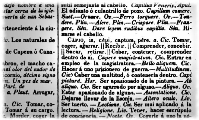 Definición de «capio» en el diccionario Nuevo Valbuena de 1840