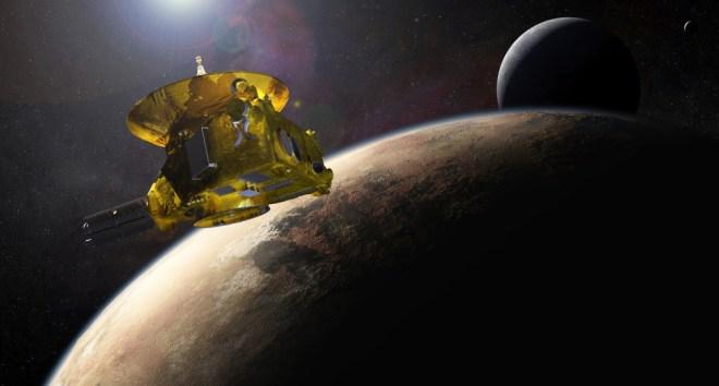 La New Horizons en Plutón —visión artística. (Fuente: NASA.)