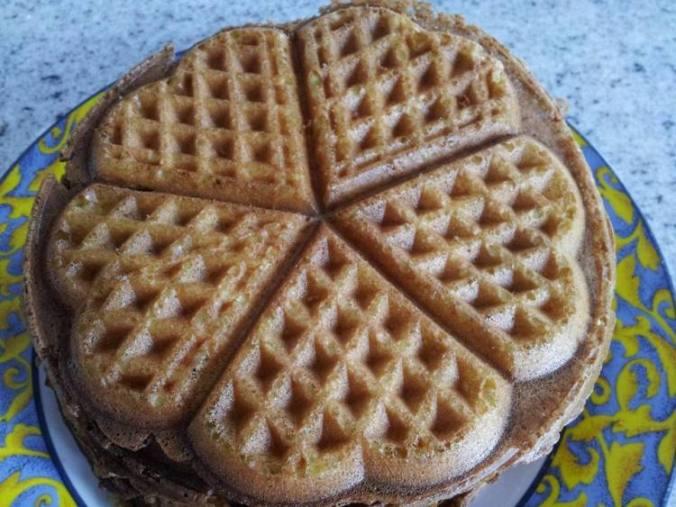 Corn lemon heart waffles